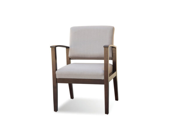 Morley Chair in Taupe Fabric and Modern Walnut Frame