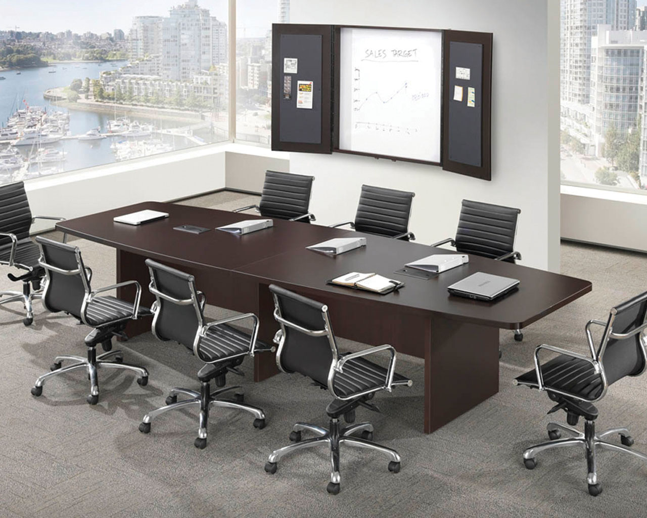 Classic boat shaped conference table Room and board furniture quality