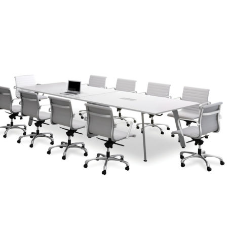 Classic Beveled Edge Square Top V-Leg Conference Table