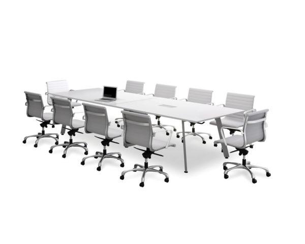 Classic Beveled Edge Square Top V-Leg Conference Table