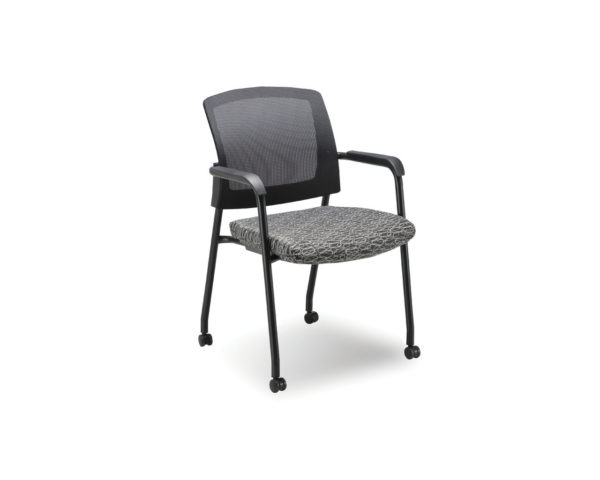 Aero Stackable Chair in Black Ovali  Fabric with Casters