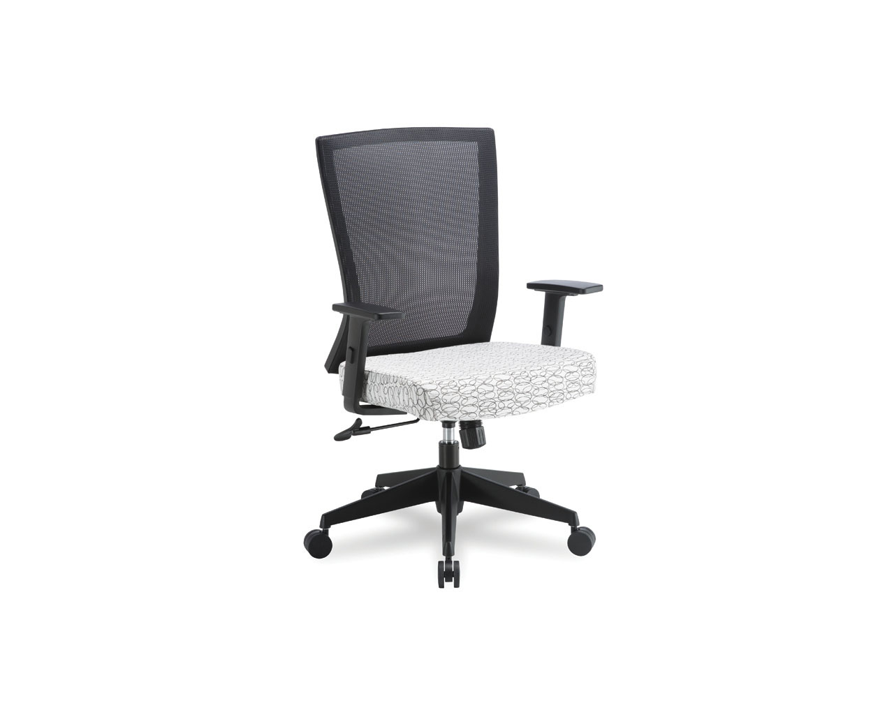 Espit Mid Back Chair in White Ovali Fabric