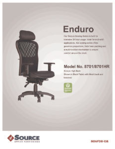 Enduro High Back Specifications