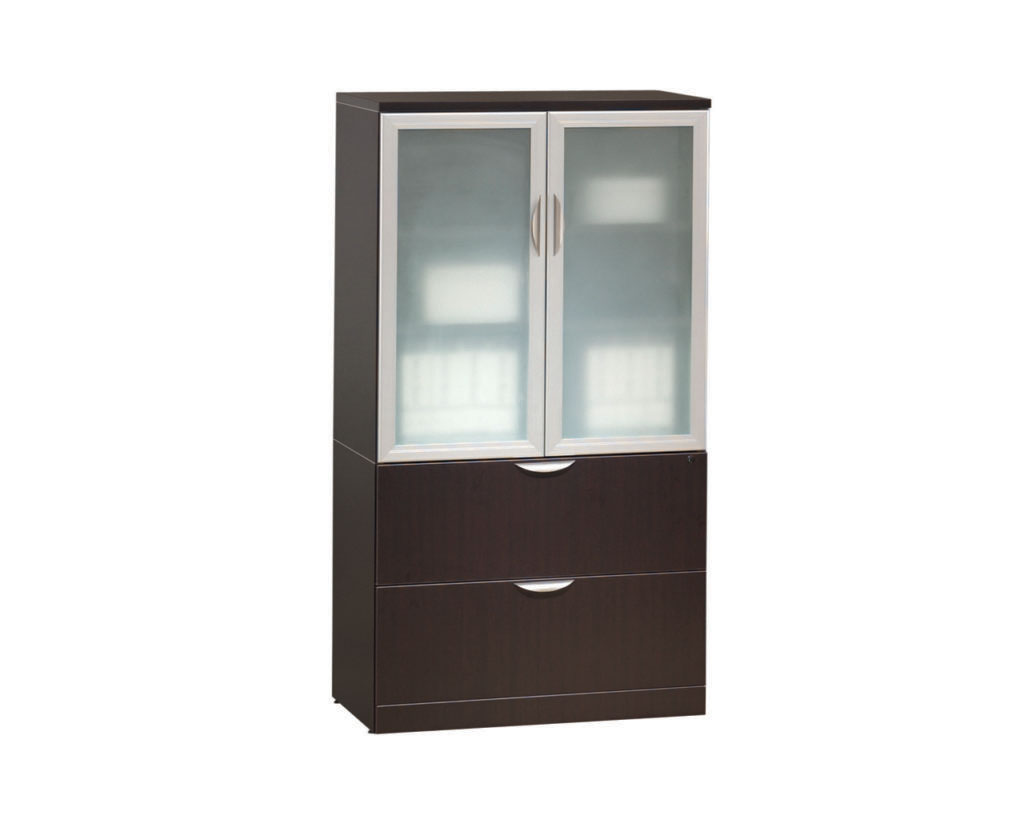 Locking Storage Cabinet/Lateral File Combo Storage Cabinet with Optional Glass Doors