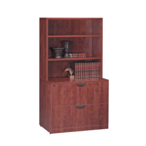 Classic Locking Two Drawer Lateral File with Hutch