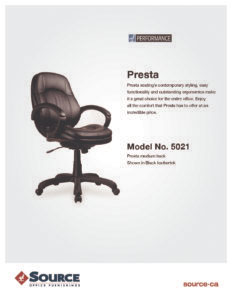 Presta Chair Specifications