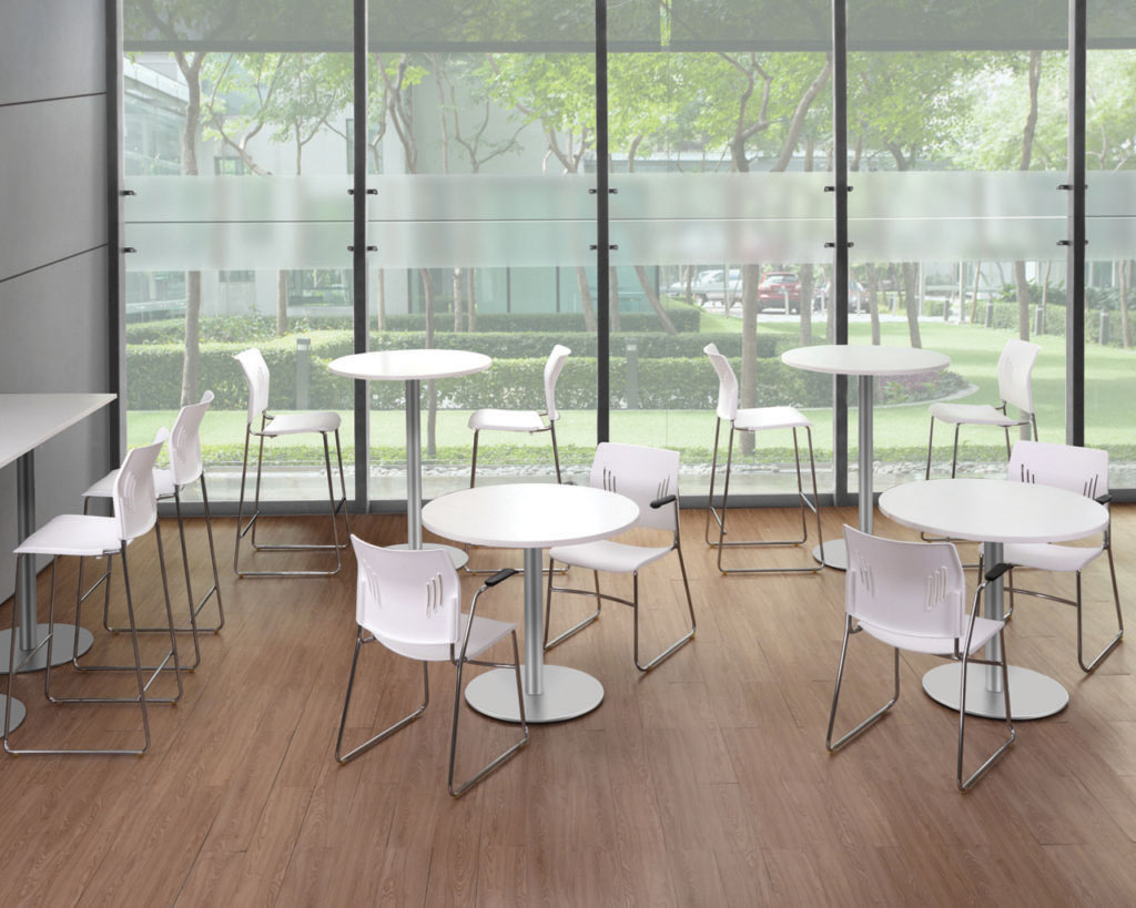 Tela Guest Chair with Arms and Bistro Stool