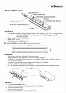 Under Desk Power Module Spec Sheet
