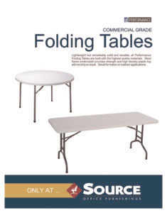 Performance Commercial Grade  Folding Tables Specifications