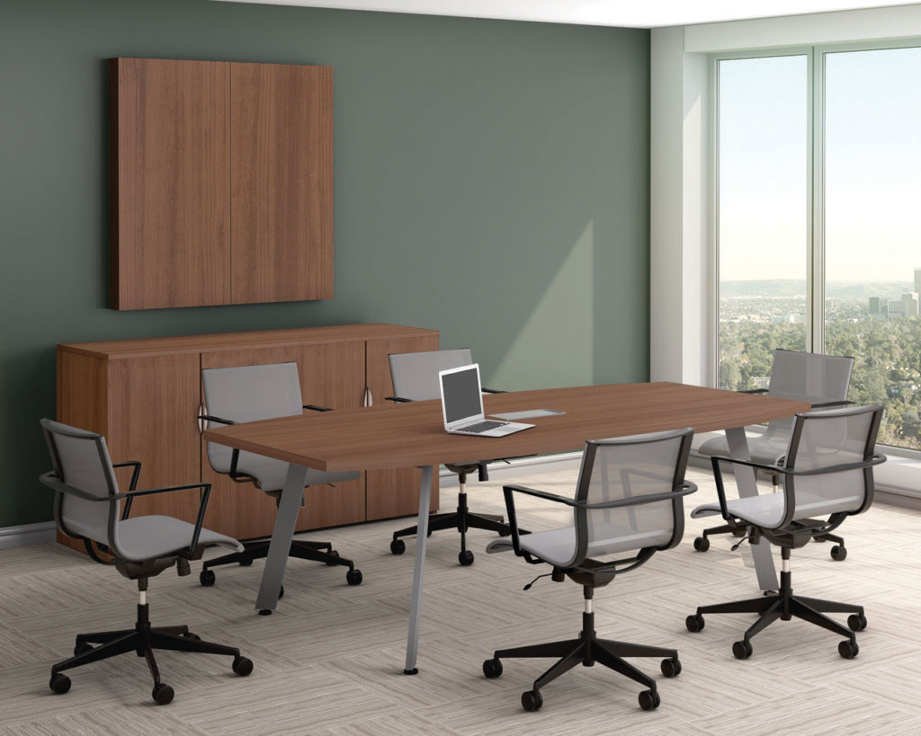 Classic Boat-shaped Conference Table with V-Leg