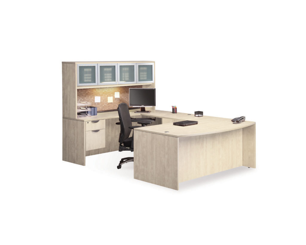 Bowfront Workstation with Optional Hutch