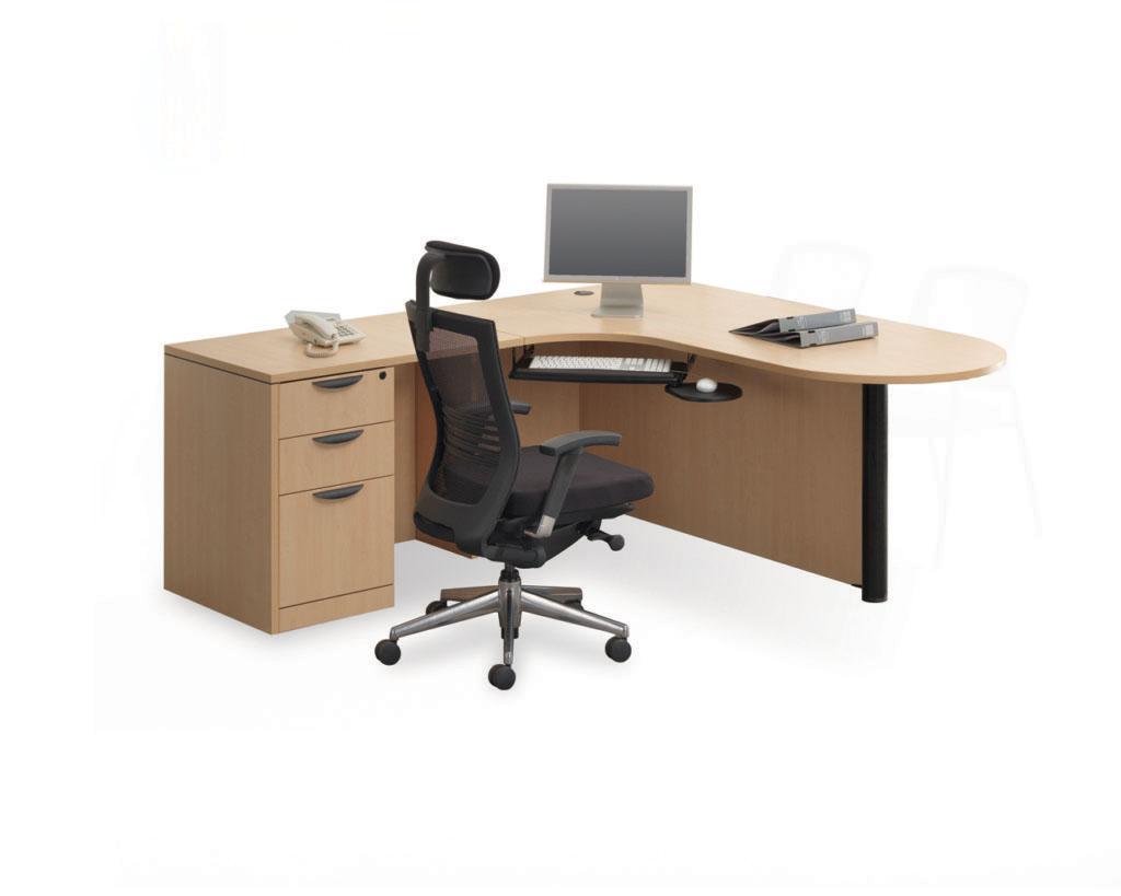 Bullet Desk Workstation with a Box/Box/File Pedestal