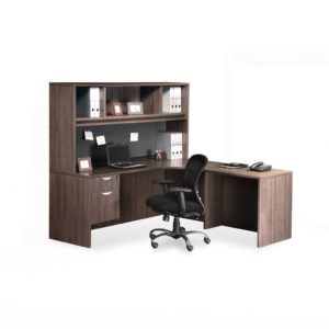 Classic L-Shaped Corner Desk with 3/4 Pedestal and Optional Hutch