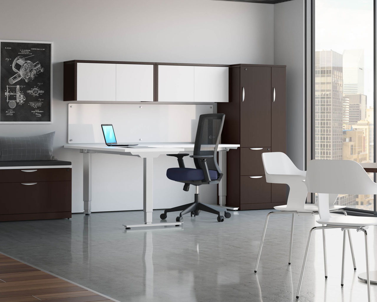 Picture of: Classic Corner Standing Desk Sit Stand Desk Height Adjustable Table