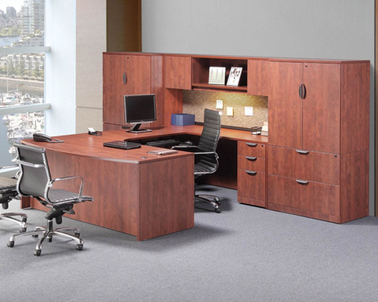 Executive Bowfront Workstation with Optional Hutch and Cabinet/Lateral File
