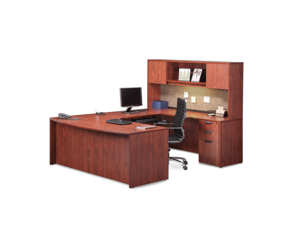 Executive Bowfront Workstation with Optional Hutch