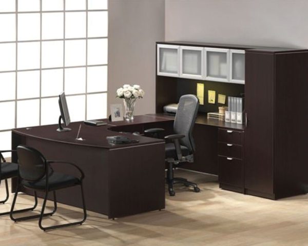 Executive Bowfront Workstation with Optional Hutch and Wardrobe