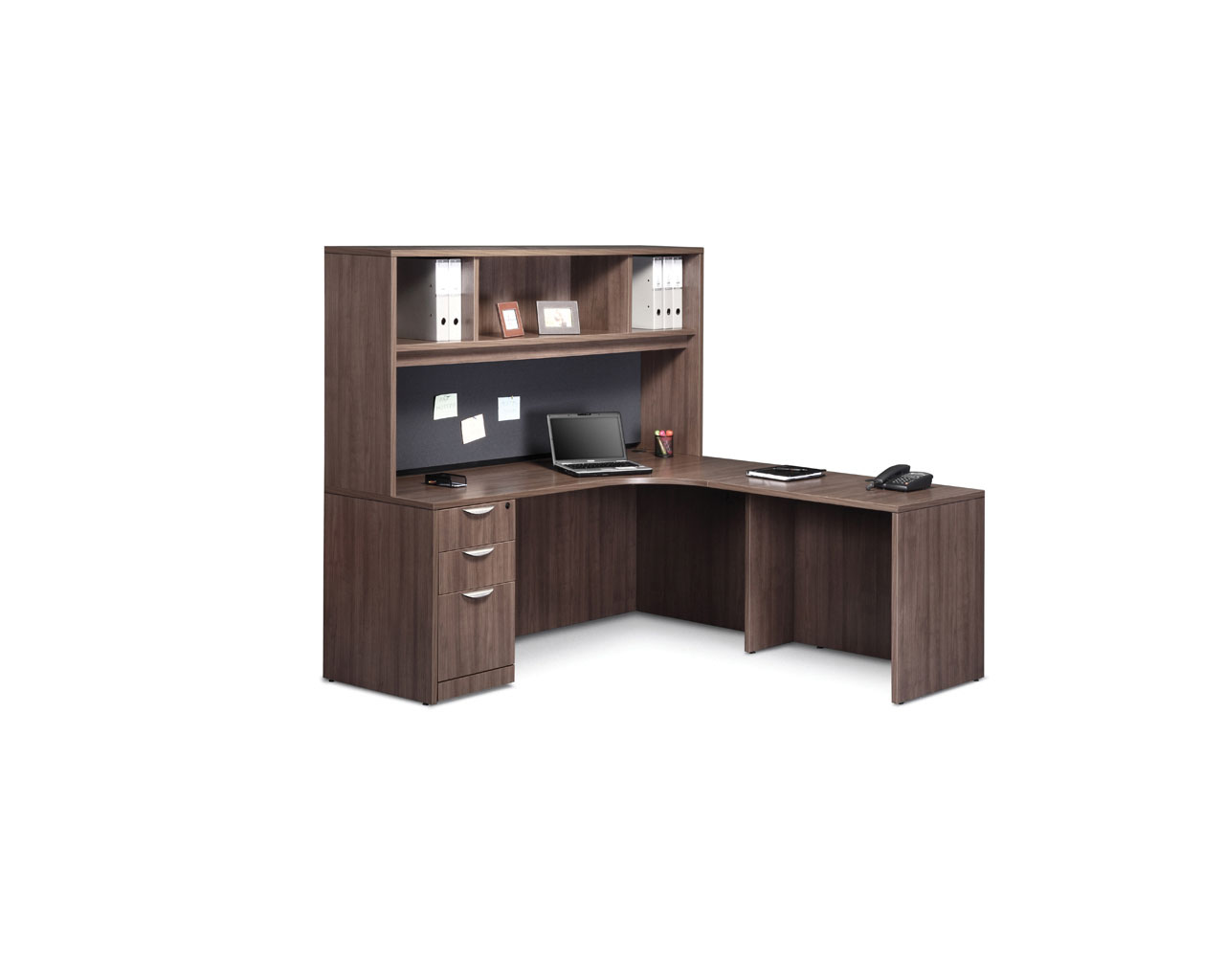 Classic L-Shaped Corner Desk with Full Box/Box/File Pedestal and Optional Hutch