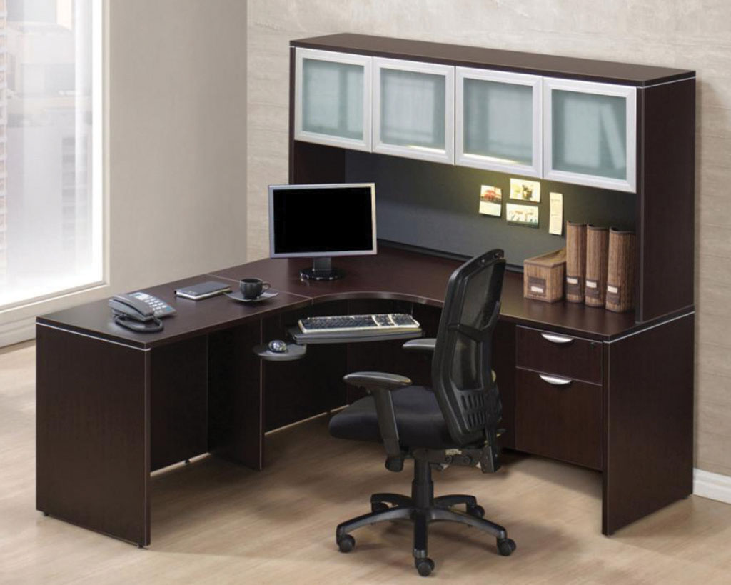 Classic L-Shaped Corner Desk with a 3/4 Box/File Pedestal and Optional Hutch