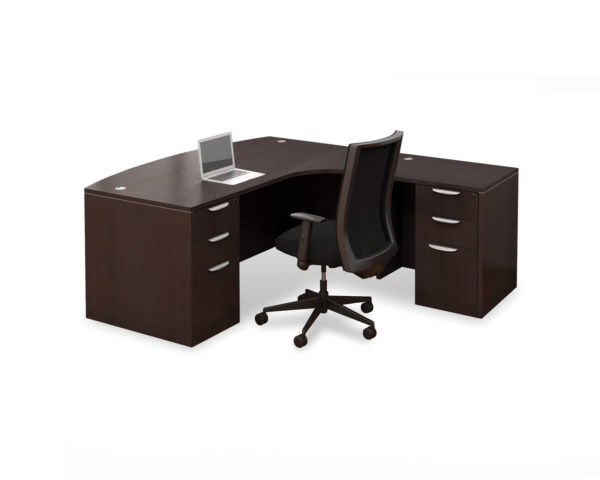 Radius Bowfront Desk with 2 Box/Box/File Pedestal