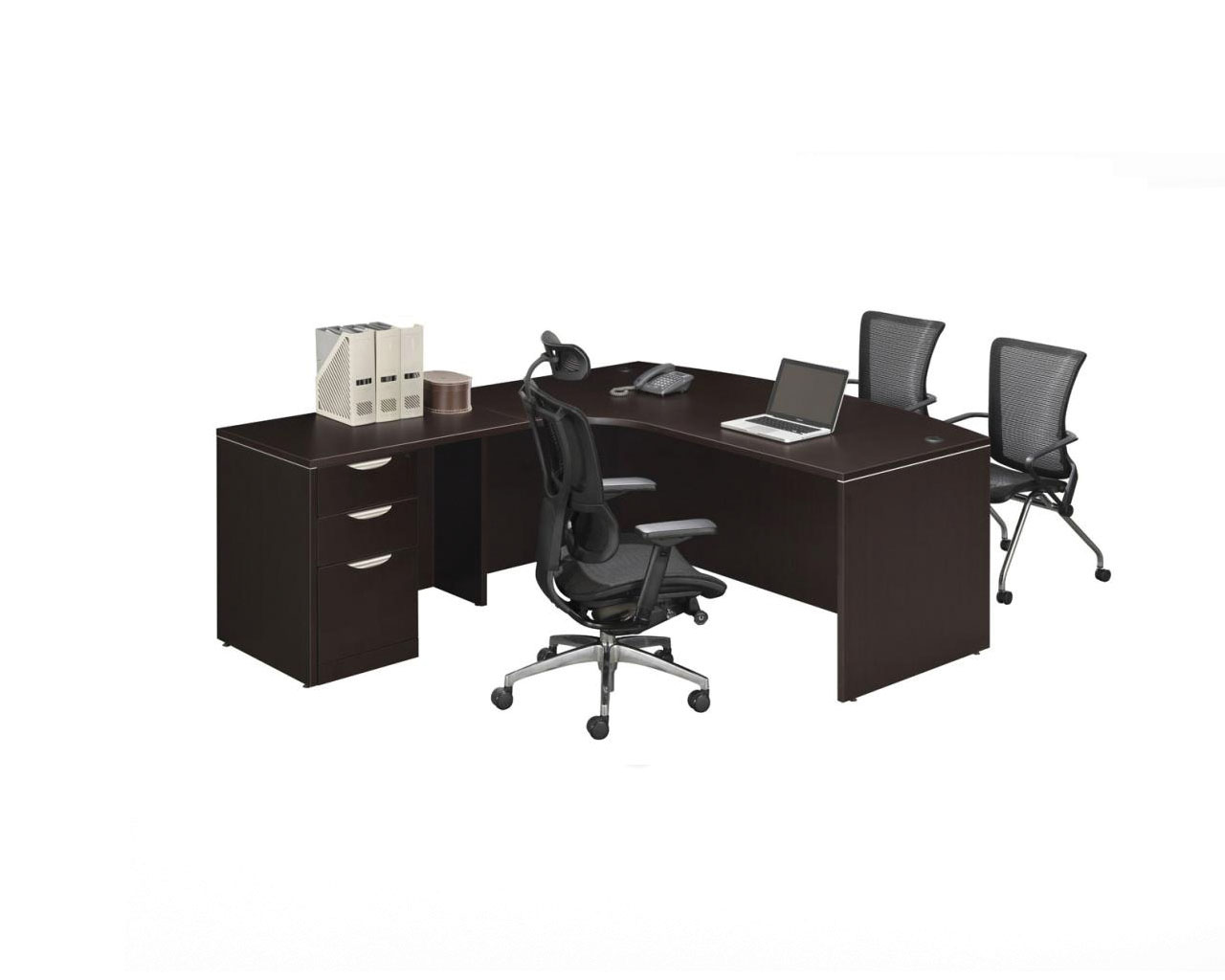 Radius Bowfront Desk with Box/Box/File Pedestal