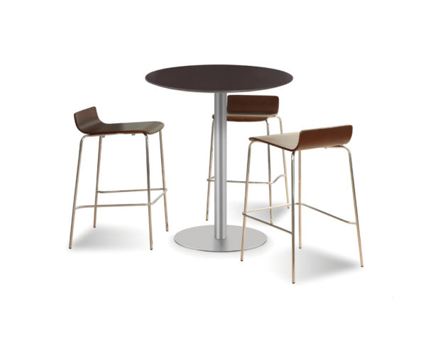 Classic Round Beveled Edge Bistro Table with a Brushed Metal Base