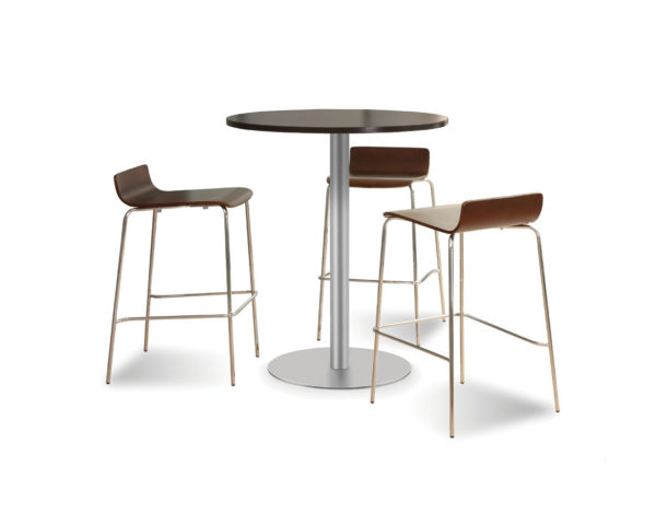 Classic Round Bistro Table with a Brushed Metal Base