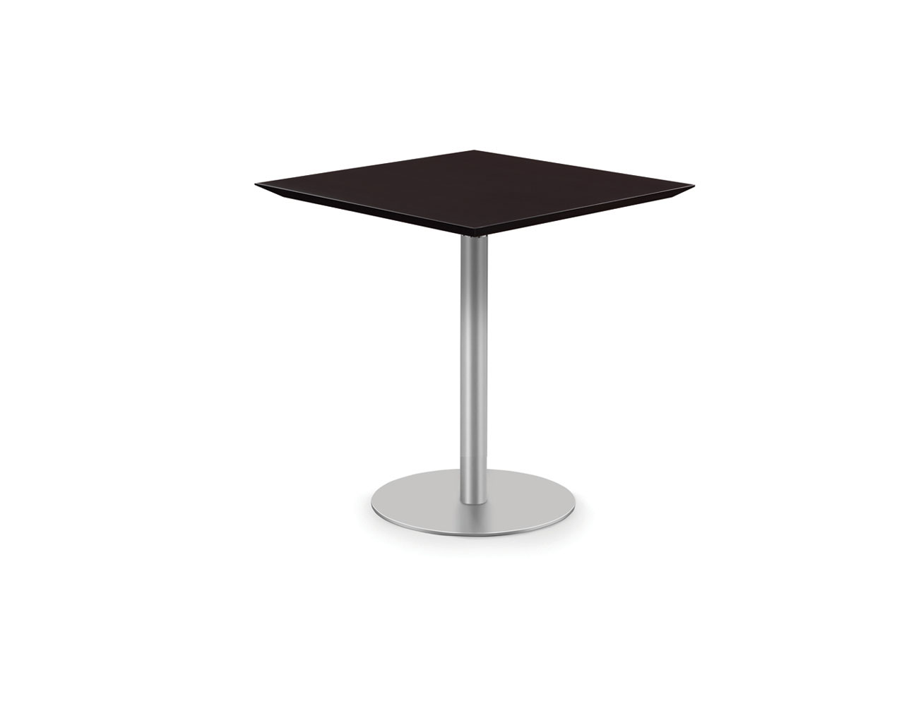 Classic Square Beveled Edge Bistro Table with Round Base