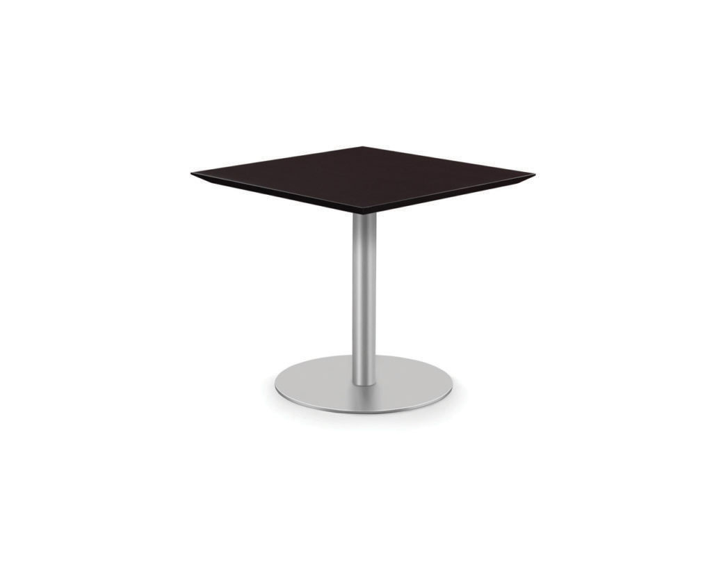 Classic Square Beveled Top Table with Round Base