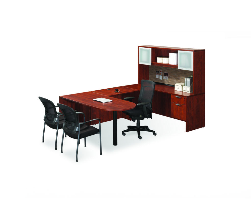 """66"""" Executive Peninsula Bullet Desk with a 3/4 Box/File Pedestal and Optional Hutch"""