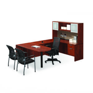 "66"" Executive Peninsula Bullet Desk with a 3/4 Box/File Pedestal and Optional Hutch"
