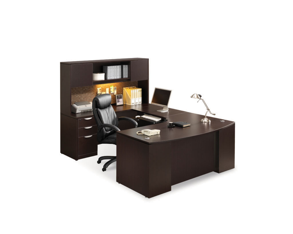 Classic Plus Bowfront Desk with Box/Box/File Pedestal and Optional Hutch