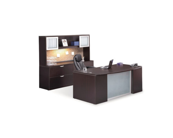 Classic Plus Bowfront Desk with Optional Lateral/Storage Cabinet with Hutch