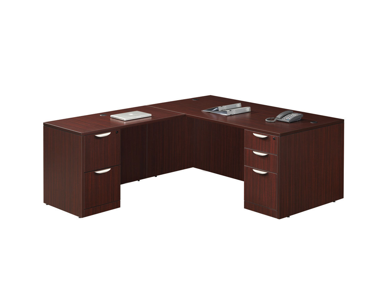 Desk With Return : Classic computer desk package with return and two pedestal
