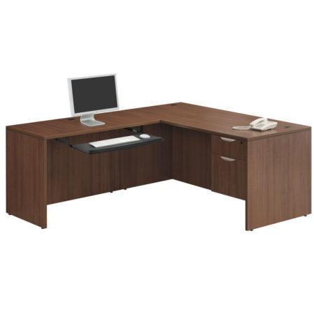 Computer Desk with Return and 3/4 Pedestal