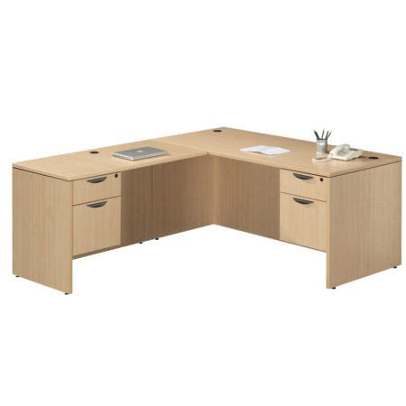 Computer Desk with Return and Two 3/4 Pedestal