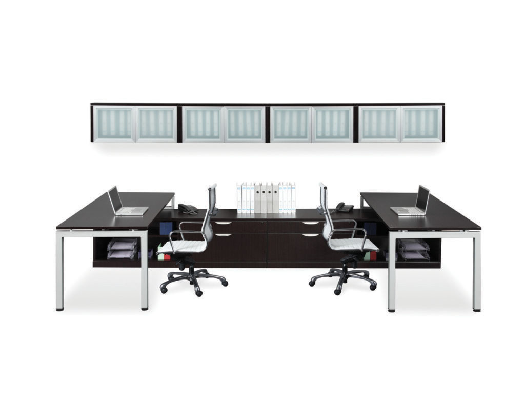 Two Elements Plus U-Leg Workstation with optional Wall Mounted Hutch (4 shown)