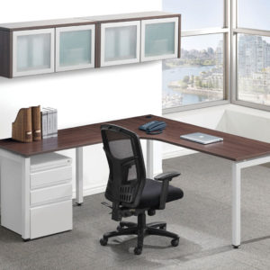 Elements Plus Radius Workstation with Return, Optional Pedestal and Storage