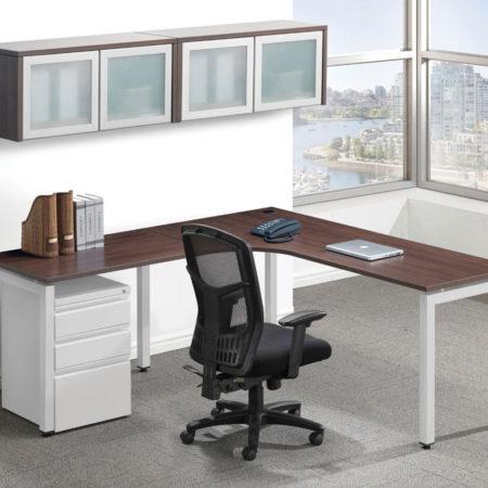 Elements Plus Radius Workstation with Return, Optional Pedestal and Storage