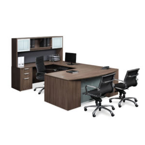 Classic Plus Reversible Executive Workstation with Optional Glass Modesty Panel
