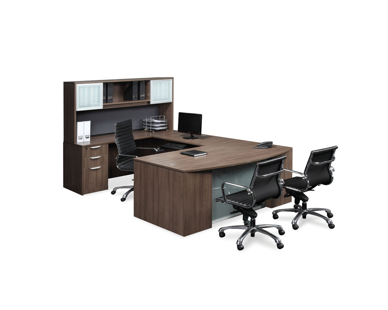 Classic Plus Bowfront Desk with a Box/Box/File Pedestal and Optional Upgraded Glass Modesty Panel and Hutch
