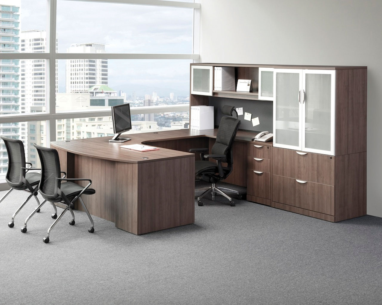 Classic Plus Bowfront Desk with Box/Box/File Pedestal and Optional Hutch & Storage Cabinet