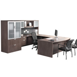 Classic Executive Bowfront Desk with 3/4 Box/File Pedestal and optional storage units