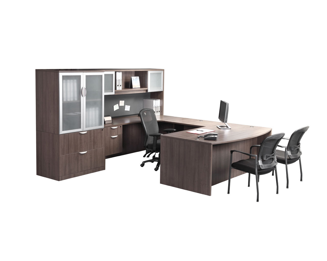 Classic Executive Bowfront Desk with 3/4 Box/File Pedestal