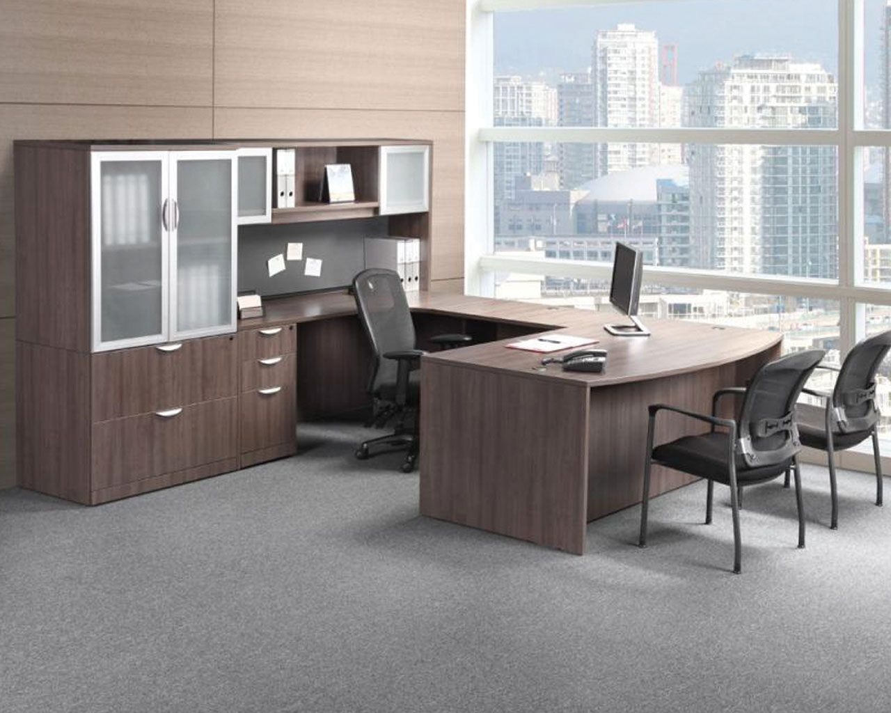 Classic Executive Bowfront Desk with a Box/Box/File Pedestal