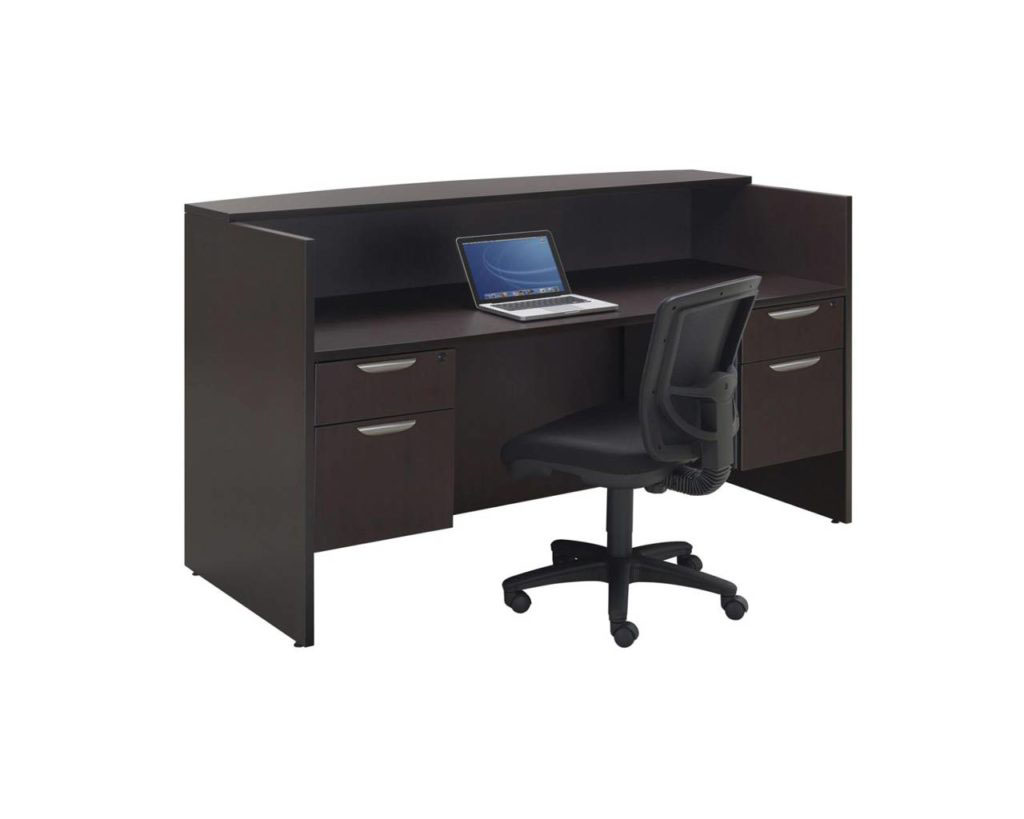 Classic Reception Desk with Two Optional 3/4 Pedestals