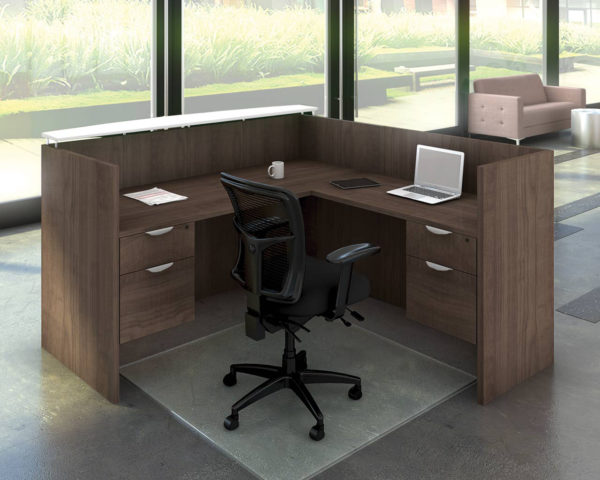 Classic Gallery Reception Desk 3/4 Pedestal with Floating Transaction Top and Optional Addtional 3/4 Pedestal