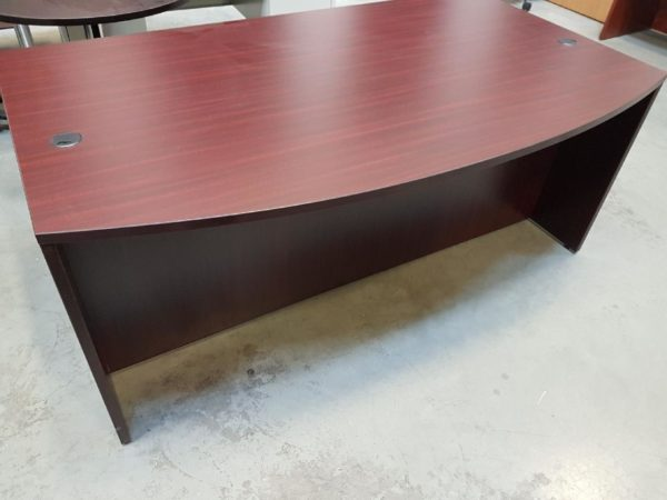 Bowfront desk with pedestal files
