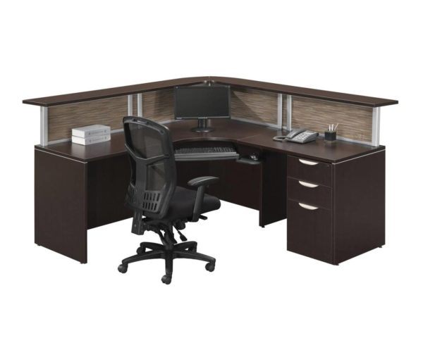 Borders Plus Reception Desk with Visconti Panels and a Box/Box/File