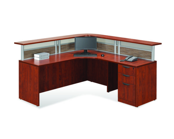 Borders Plus Reception Desk with Visconti/Acrylic Panels and a Box/Box/File
